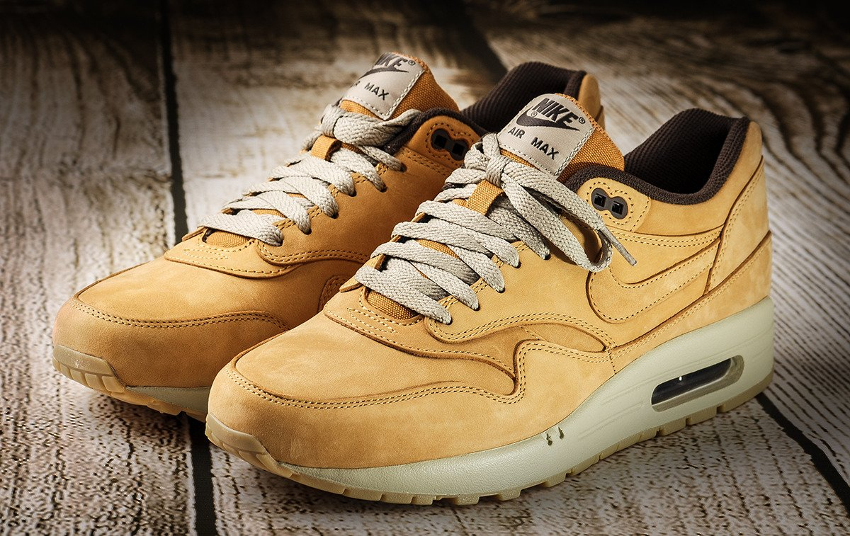 nike air max 1 leather premium wheat pack shoes 705282. Black Bedroom Furniture Sets. Home Design Ideas