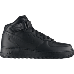 Nike Wmns Air Force 1 Mid Leather Black Shoes - 366731-001