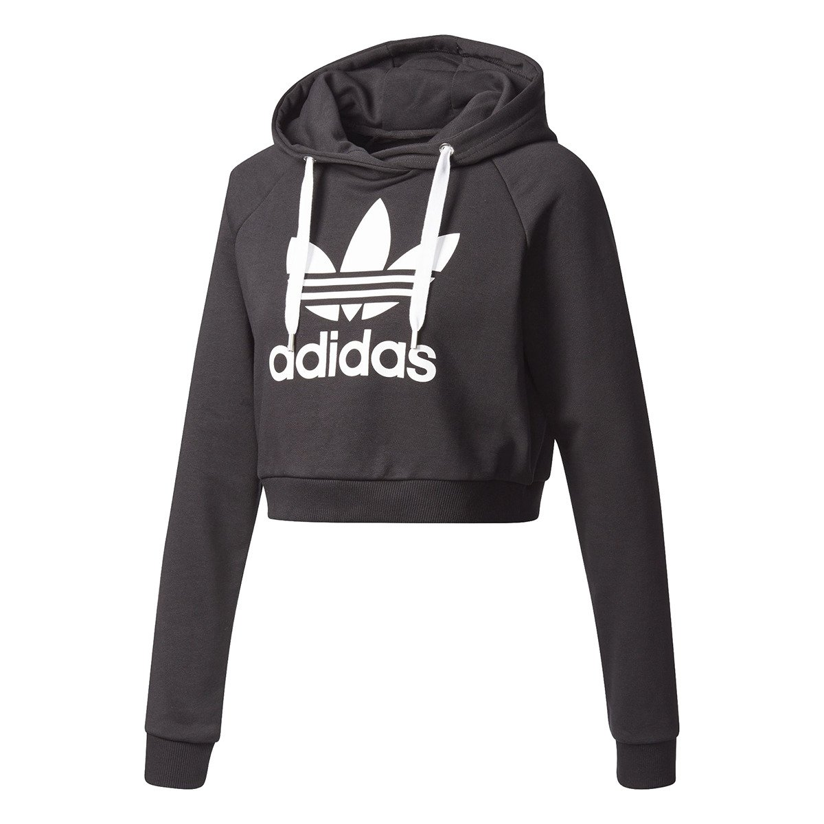 adidas originals trefoil crop hoodie bp9478 basketball clothing casual wear hoodies. Black Bedroom Furniture Sets. Home Design Ideas