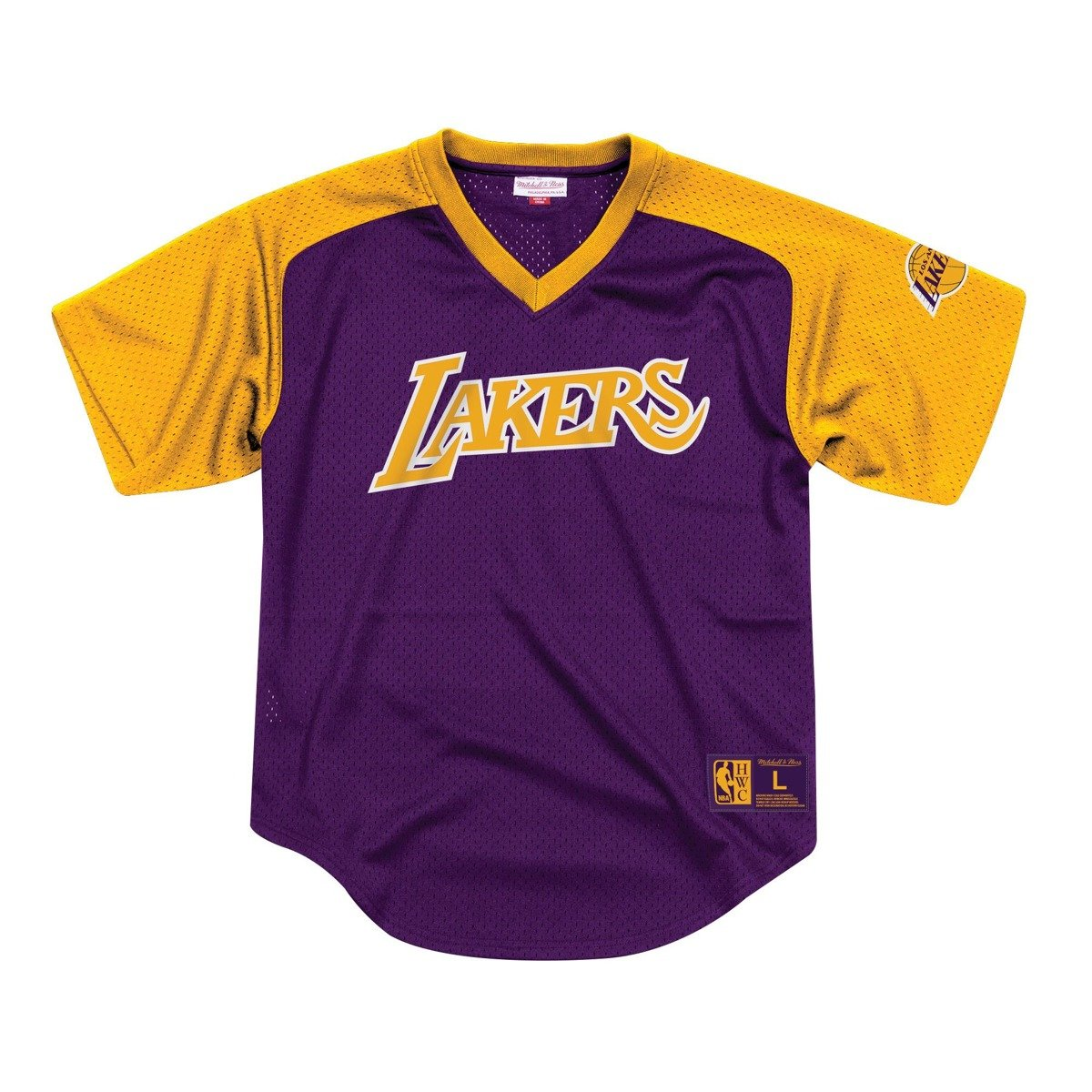 Mitchell Ness Final Seconds Mesh V Neck Los Angeles Lakers T Shirt