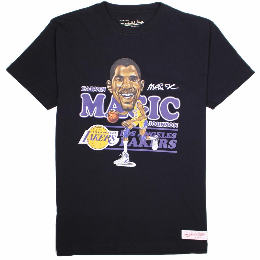 0b966fc7a48 Mitchell & Ness NBA Los Angeles Lakers Magic Johnson Caricature T-Shirt