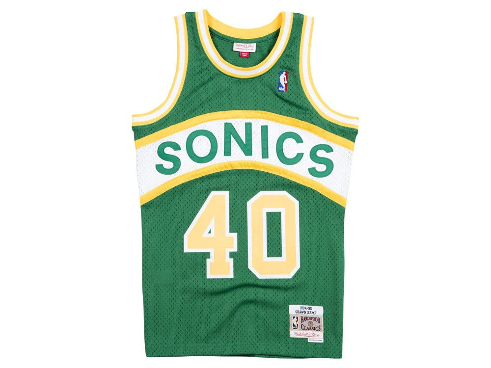 9161c6dc8 Mitchell   Ness NBA Seattle Supersonics Shawn Kemp Swingman Jersey ...