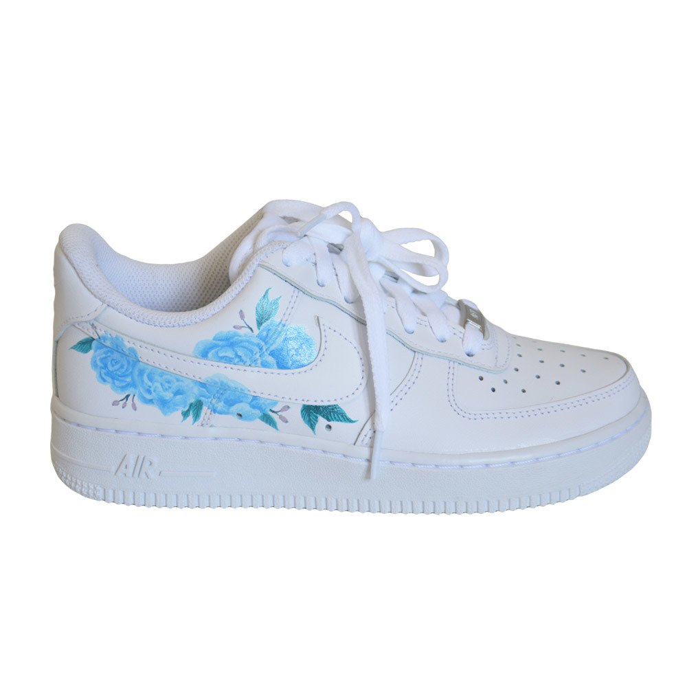 Nike Air Force 1 Low All White Custom Flower blue
