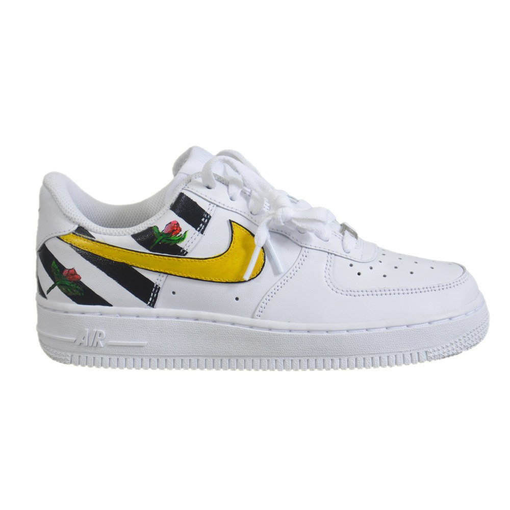 6513a5b22b Nike WMNS Air Force 1 Low All White Custom Stripes & Flowers Shoes -  315115-112