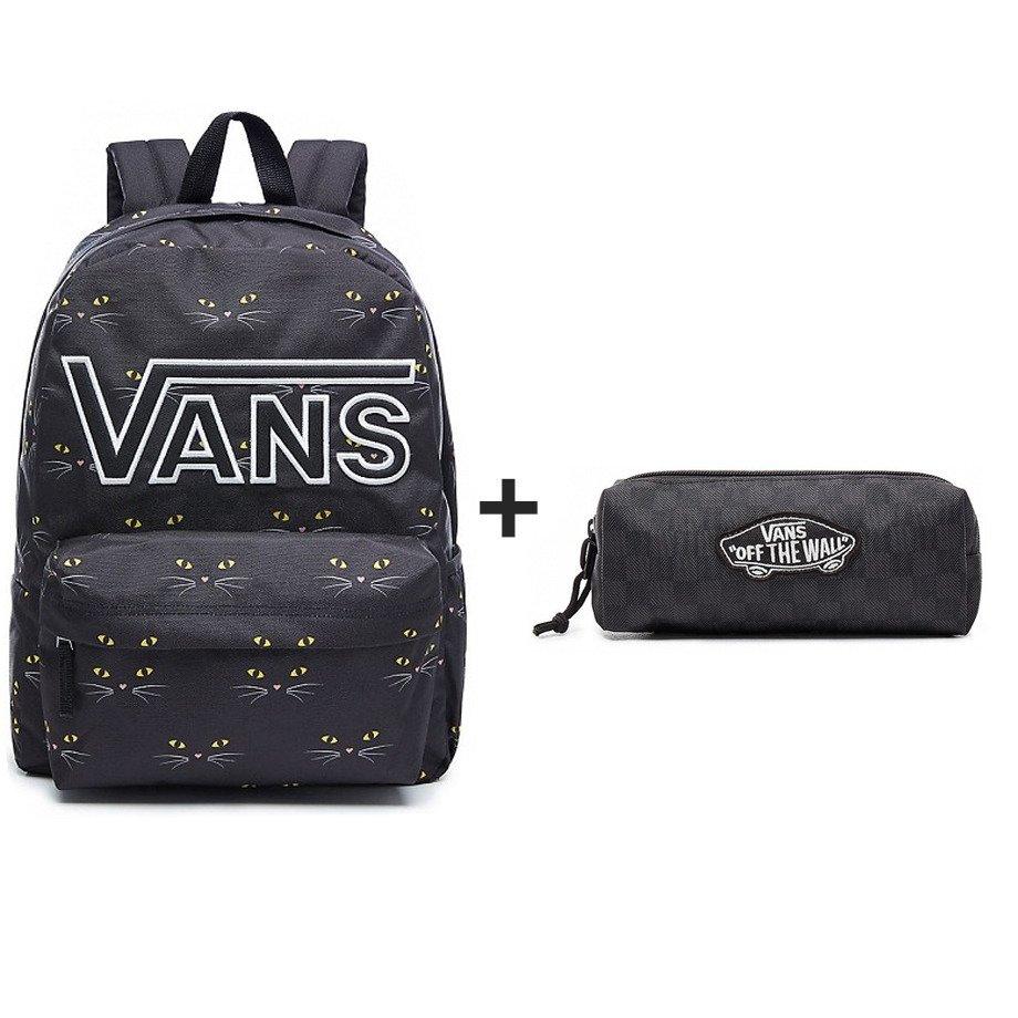 4f28ff8e16 VANS Realm Flying V Backpack Black Cat + Vans OTW Pencil Pouc - VN0A3HMQBA5