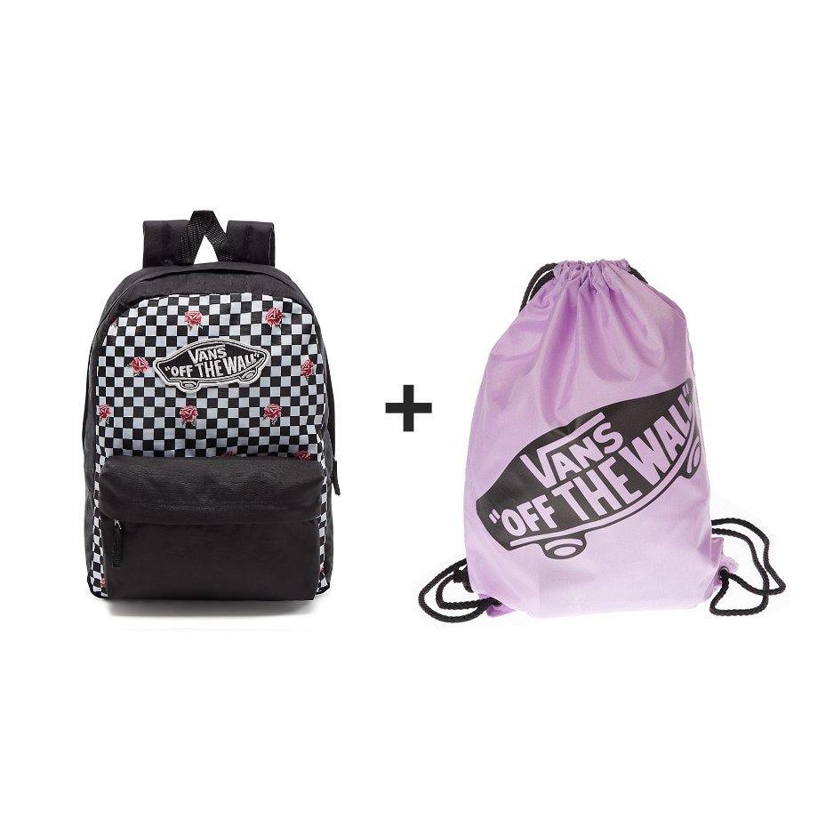 f5d6d85be6 VANS Realm Rose Checker Backpack + VANS Women s Benched Bag ...